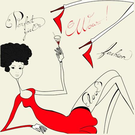 fizz: Original background with fashion woman