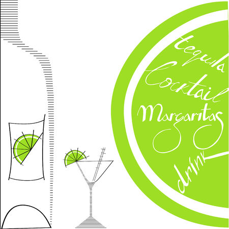 glass with bottle and lime Vector