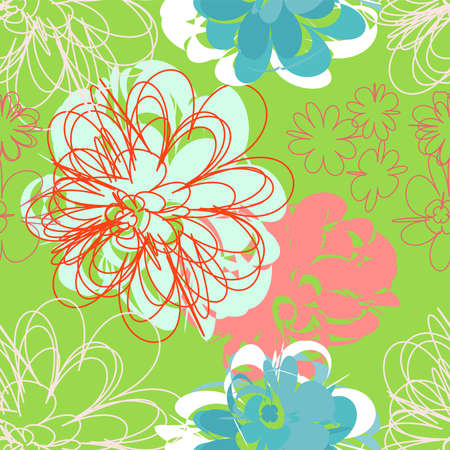paeony: Summer seamless pattern