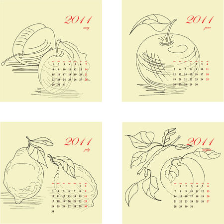 Calendar for 2011 with fruit. Part 2 Vector
