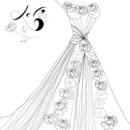 Trouw jurk Vector Illustratie
