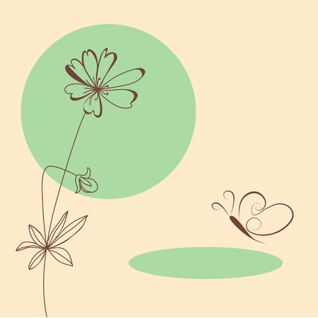 flower drawings: Template for greeting card Illustration
