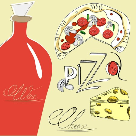 Pizza, cheese and wine Vector