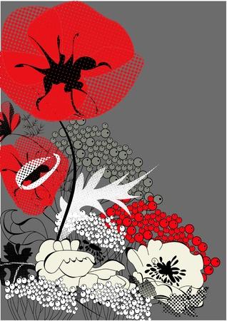 Arrière-plan coloré avec des fleurs du pavot Vecteurs