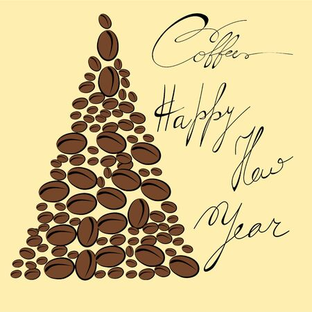 Greeting card with coffee bean Vector