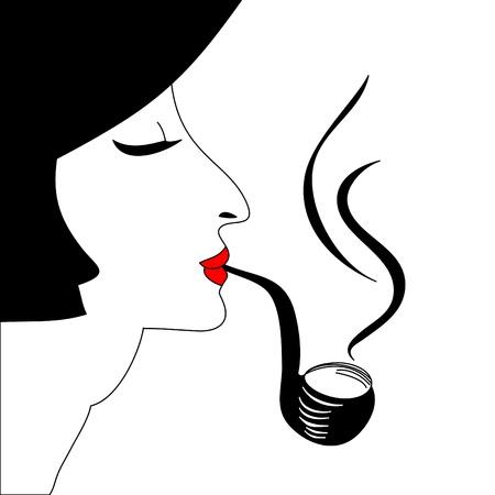 Portrait of smoking woman  Vector