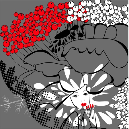 Womans face with flowers Vector