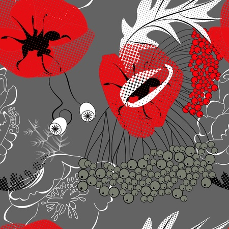Seamless pattern with red poppy flowers Stock Vector - 8288368