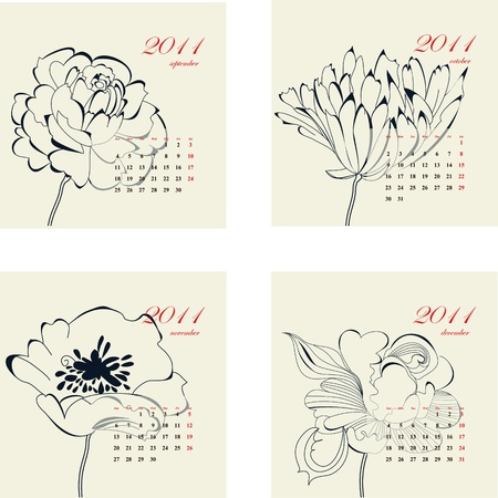 Calendar with flowers for 2011 Part 1 Stock Vector - 8380457