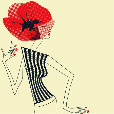 upset woman: Beautiful girl with poppy flower Illustration