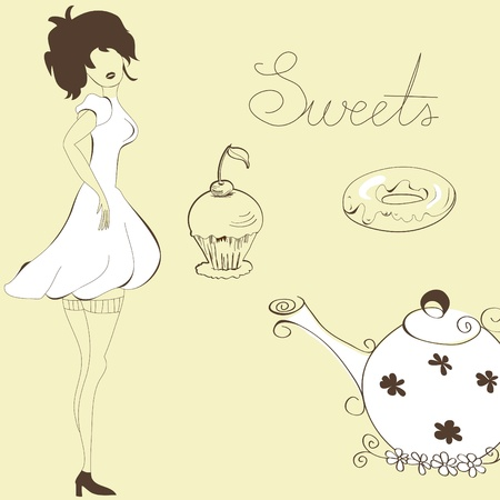 Woman with sweets Vector