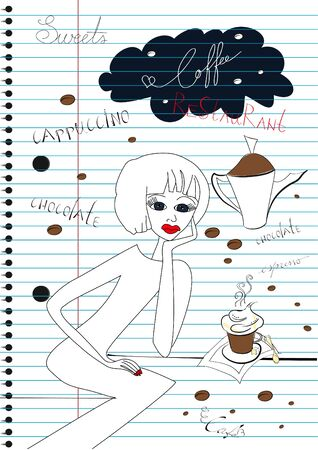 notebook paper background: Woman with a cup of coffee