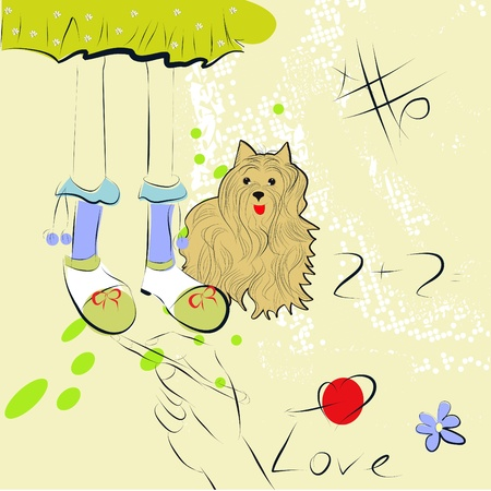 Background with girl foots and dog Stock Vector - 8380494