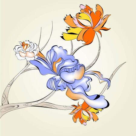 Decorative tree with flowers Vector