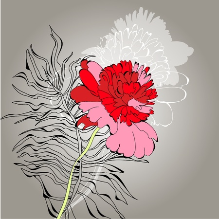 Background with red flower Vector