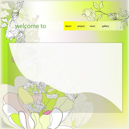 Website design template with decorative flowers Vector