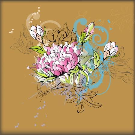 peony: Vintage flowers Illustration