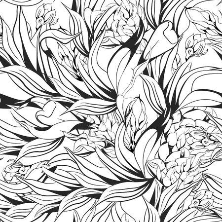 monochroom: Naadloze wallpaper Stock Illustratie