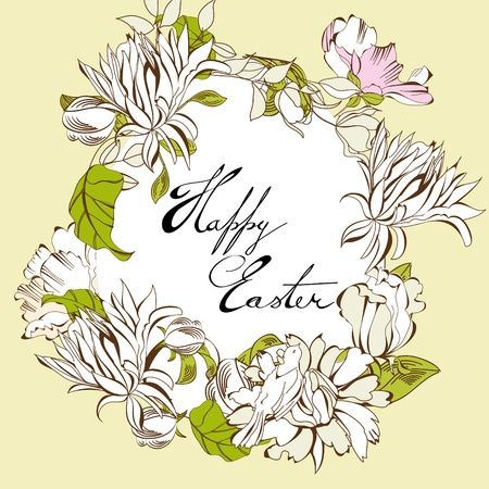 pasch: Easter egg with floral elements  Illustration
