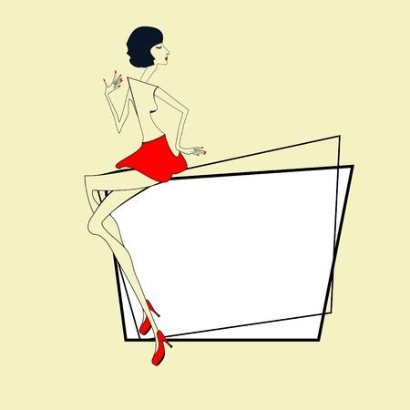 muneca vintage: Marco decorativo con chica