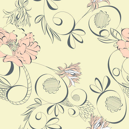 paeony: Vintage seamless wallpaper