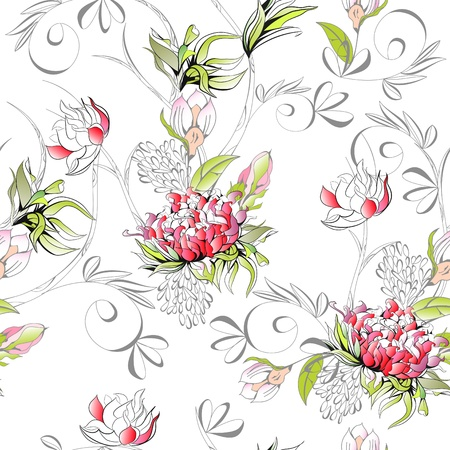 paeony: Floral seamless pattern