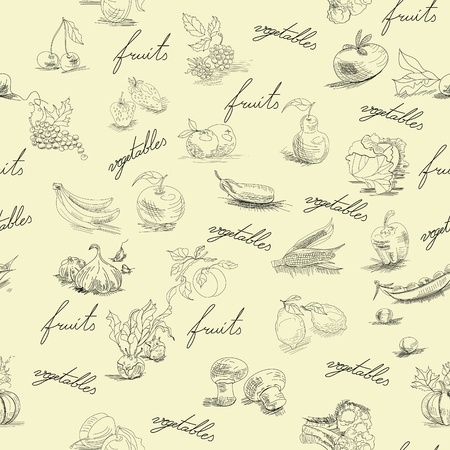Seamless wallpaper with fruits and vegetables Vector
