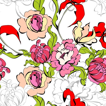 Seamless wallpaper with peony flowers Stock Vector - 8743198