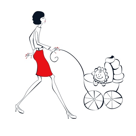 baby carriage: Woman with baby Illustration