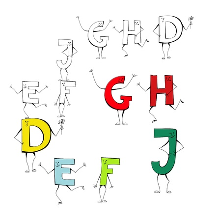 Set of cartoon style letters E, F, J, G, H, D Vector