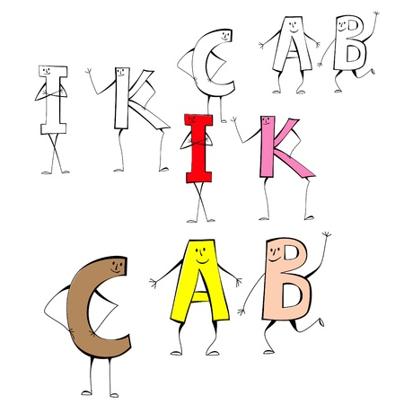 Set of cartoon style letters I, K, C, A, B Vector