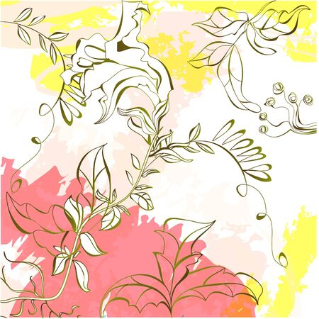 Summer colorful background with pink and yellow splashes Stock Vector - 8874344