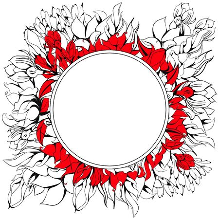 Round frame with floral element Vector