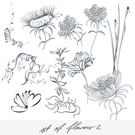 flower silhouette: Set of flowers 2 Illustration