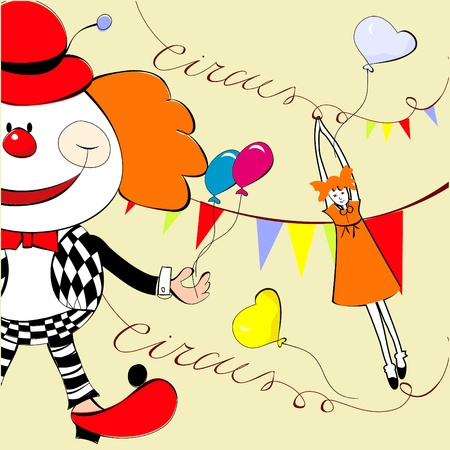 jester: Circus with happy clown Illustration