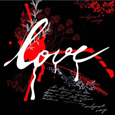 Inscription love  on grunge background Vector