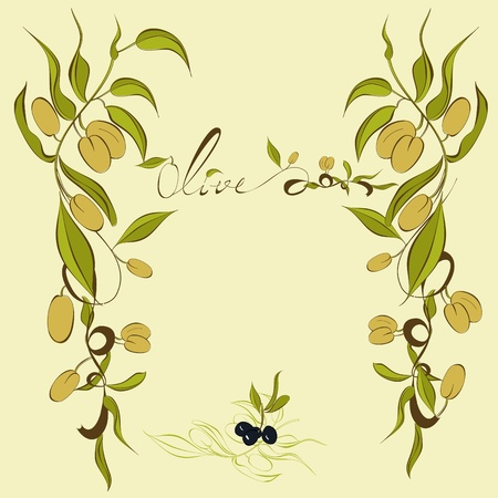 picking fruit: Background with olives branches Illustration