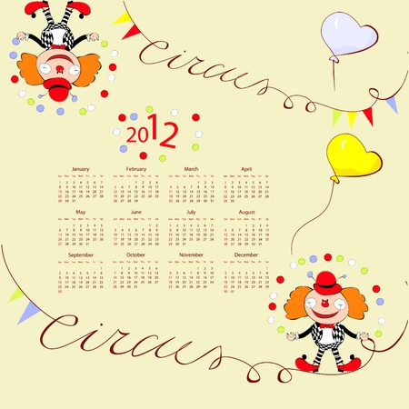 Calendar for 2012 with circus illustration Vector