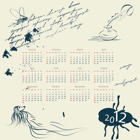 Template for calendar 2012 with scrabble Stock Vector - 9077952