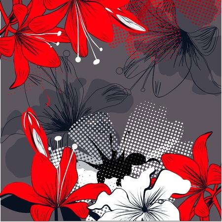 lily flowers: Fondo con flores de lirio rojo  Vectores