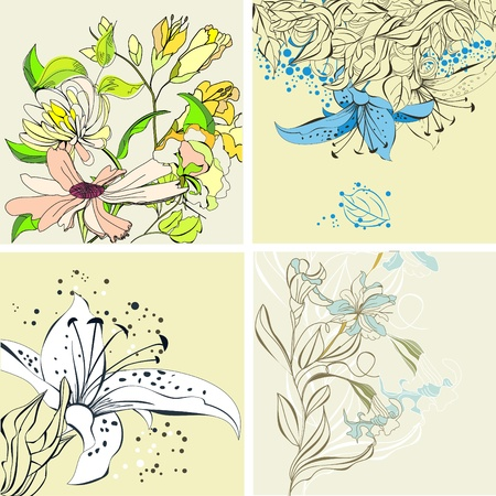 lily flowers set: Set of floral card Illustration