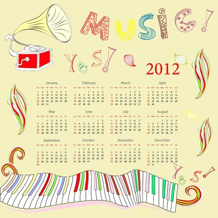 Original calendar for 2012 Vector
