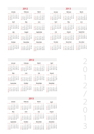 Template foe calendar 2012-2013 Vector