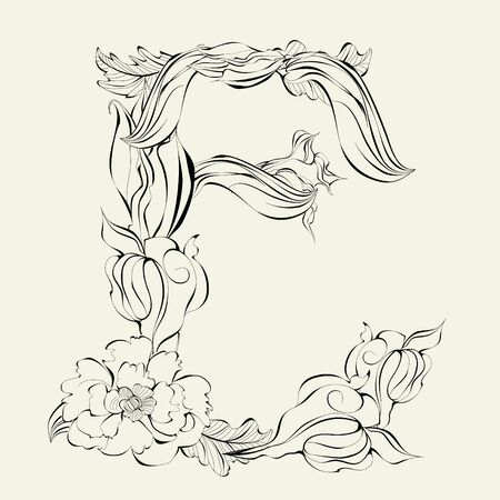 decorative letter: Decorative font, Letter E