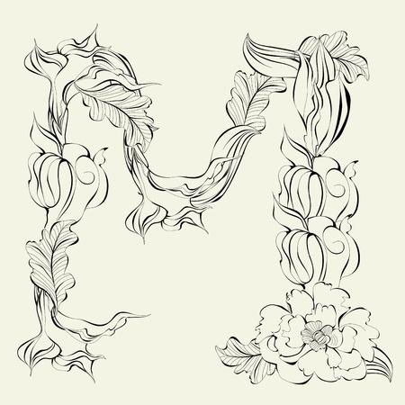 Decorative font, Letter M Stock Vector - 9140497