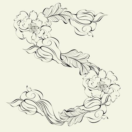 write letter: Decorative font, Letter S