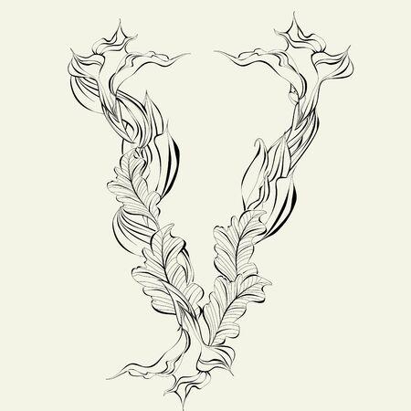 Decorative font, Letter V Stock Vector - 9140477