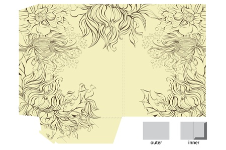 Decorative folder with floral pattern  Stock Vector - 9140519