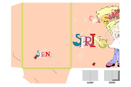 pre teen: Template for folder with girl Illustration
