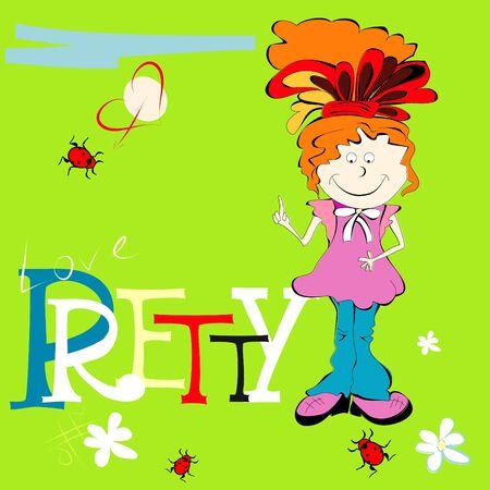 pre adolescent child: Small girl with inscription PRETTY